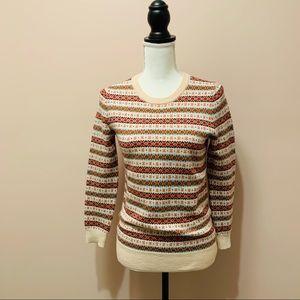 J.Crew Fair Isle Striped Marino Wool Creme Sweater